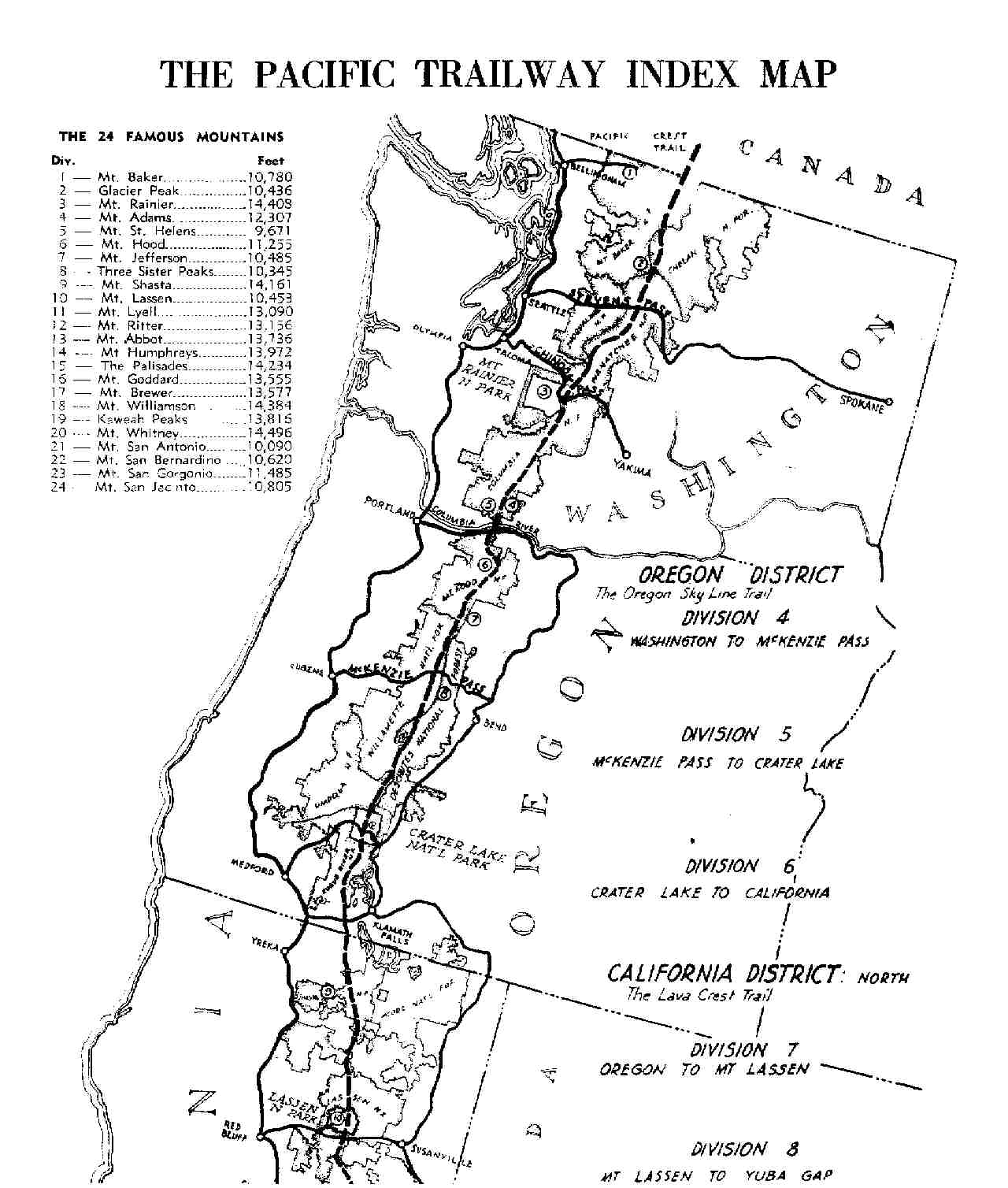 From The Rogers Collection a 1945 map of the Pacific Crest Trail