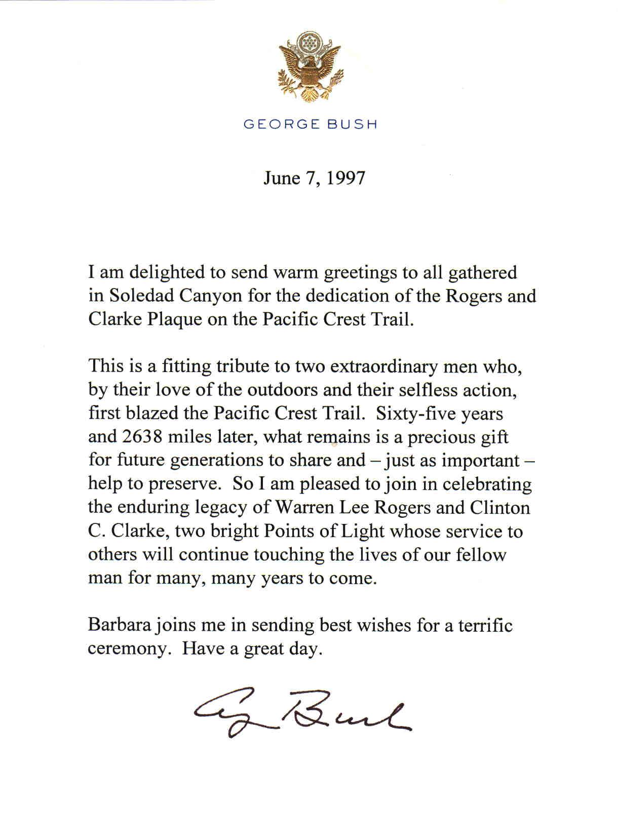 Former President Bushs Letter For National Trails Day June 7 1997